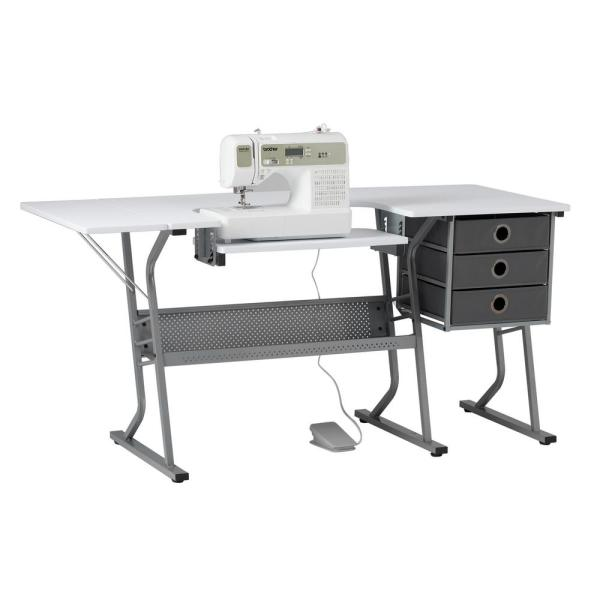 Ultra 60.25 in. W x 23.75 in. D PB Eclipse Craft Sewing Table with 3 Storage Drawers in White with Gray Metal Frame
