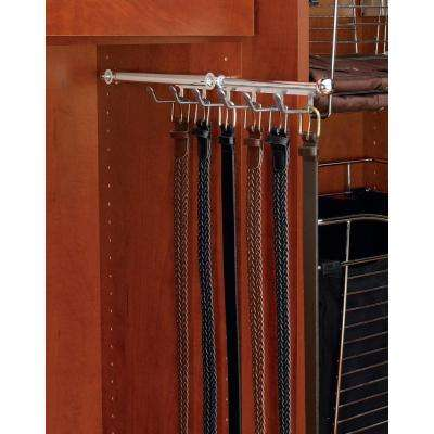 9-Hook Chrome Pull-Out Belt Scarf Rack