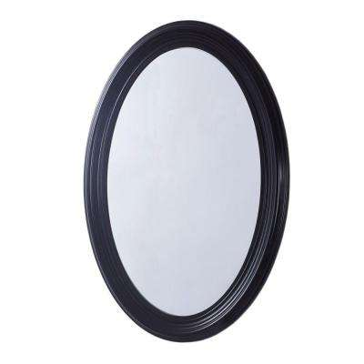 Newberg 21 in. x 31 in. Oval Single Framed Wall Mount Mirror in Espresso