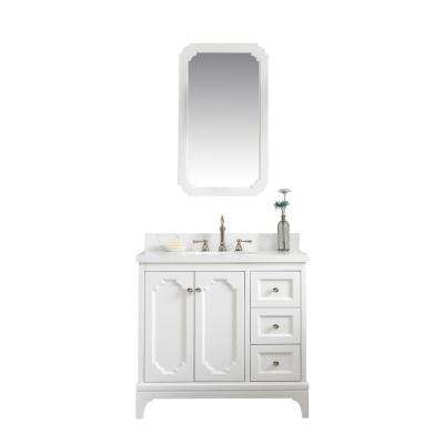 Queen 36 in. Bath Vanity in Pure White with Quartz Carrara Vanity Top with Ceramics White Basins and Faucet