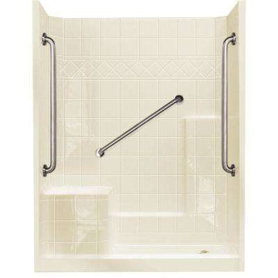 32 in. x 60 in. x 77 in. Standard Plus 36 Low Threshold 3-Piece Shower Kit in Biscuit with Left Seat and Right Drain
