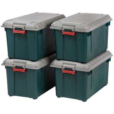 82 Qt. Weathertight Store-It-All Storage Bin in Green (4-Pack)