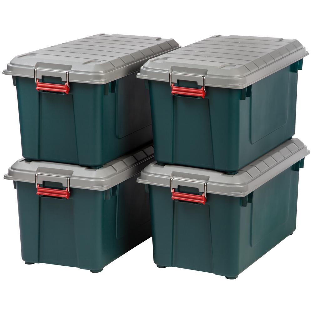 82 Qt. Weathertight Store-It-All Storage Bin in Green (4-Pack)