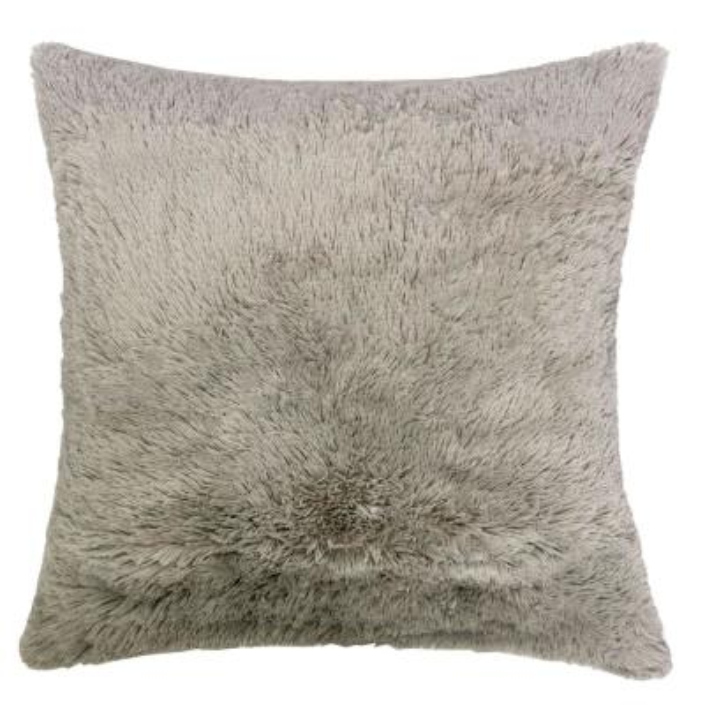 Shaggy Light Brown Decorative Pillow (Set of 2)