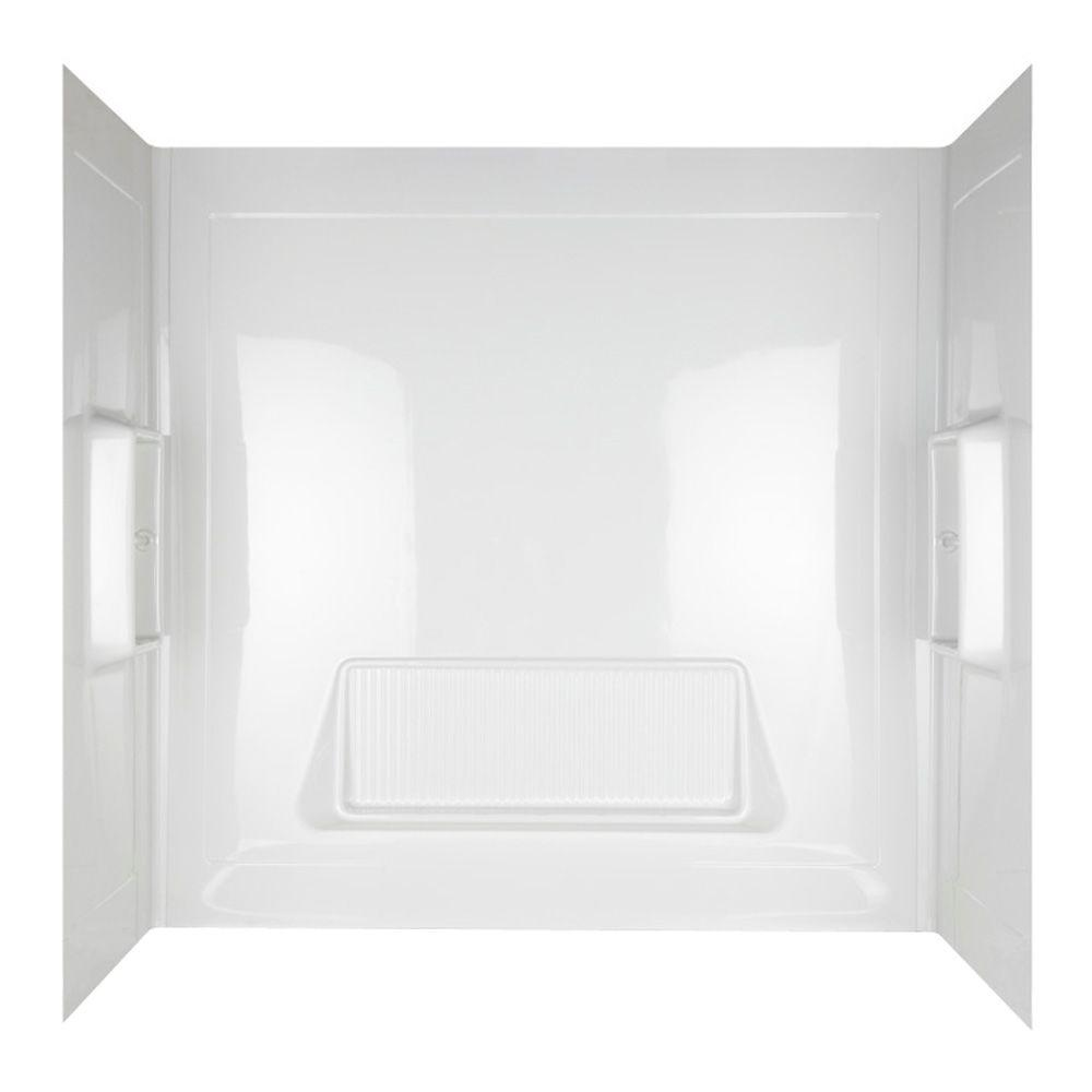 ASB Pro-Wall 30 in. x 61 in. x 58 in. Three Piece Easy-Up Adhesive Tub Wall in White