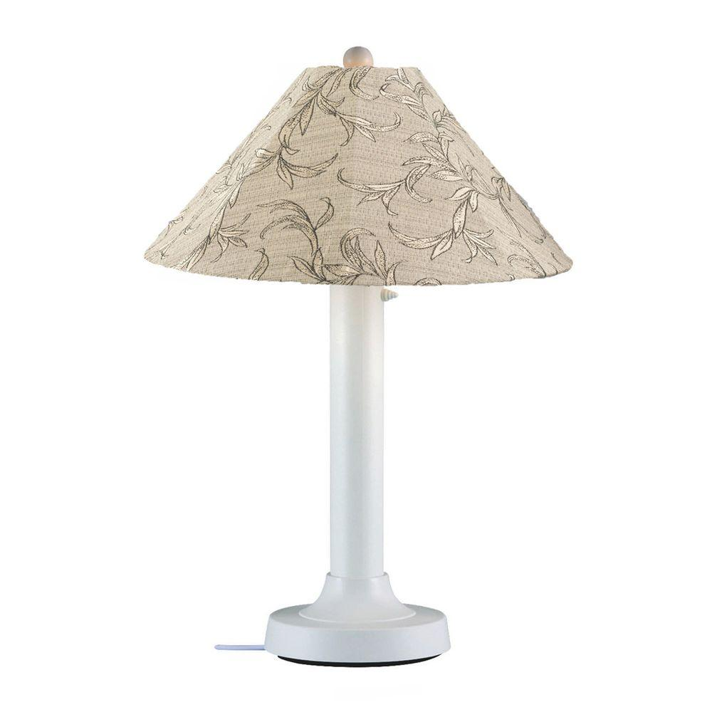 Patio Living Concepts Catalina 34 in. White Outdoor Table Lamp with Bessemer Shade