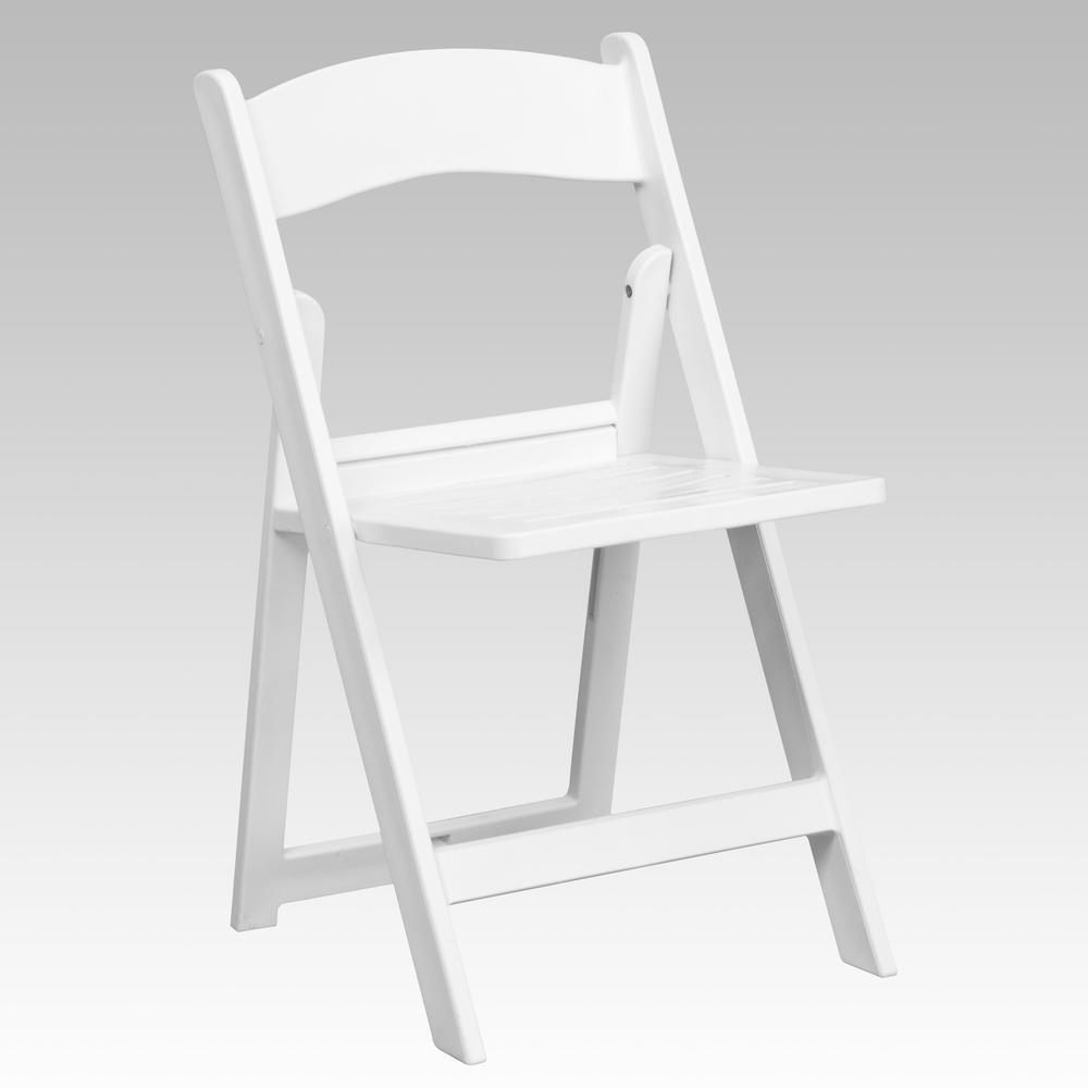 Hercules Series 1000 lb. Capacity White Resin Folding Chair with Slatted