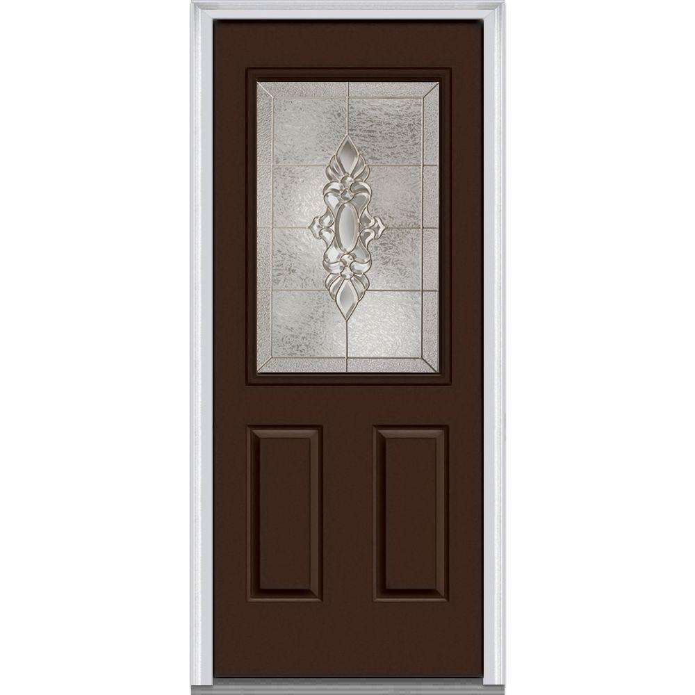 32 in. x 80 in. Heirloom Master Right-Hand Inswing 1/2-Lite Decorative 2-Panel Painted Steel Prehung Front Door
