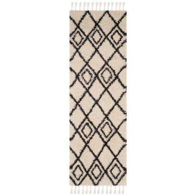 Moroccan Fringe Shag Cream/Charcoal 2 ft. x 7 ft. Runner Rug