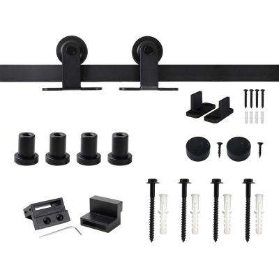 5 ft./60 in. Top Mount Sliding Barn Door Hardware Track Kit for Single Door with Non-Routed Floor Guide Frosted Black