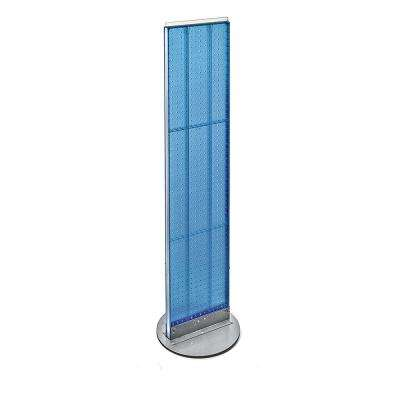 60 in. H x 13.5 in. W Styrene Pegboard Floor Display with Revolving Wheeled Base in Blue (2-Piece)