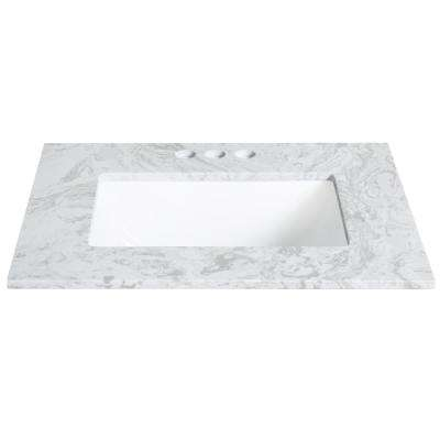 25 in. W x 19 in. D Engineered Stone Single Basin Vanity Top in Winter Lake with White Basin