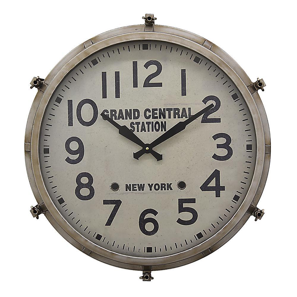 26 in. x 5.75 in. Metal Wall Clock in Gray