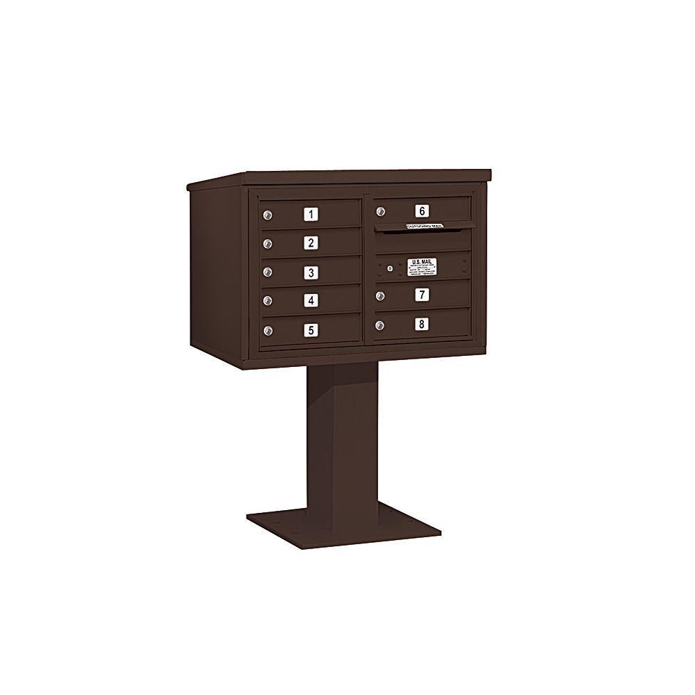 3400 Series 48-1/8 in. 5 Door High Unit Bronze 4C Pedestal Mailbox with 8 MB1 Doors