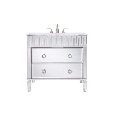 Indio 36 in. Single Bath Vanity w/ 2 Drawers; Marble Top; Porcelain Sink; Clear Mirror