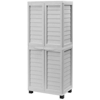 2 ft. 5.5 in. x 1 ft. 8 in. x 5 ft. 11 in. Plastic Grey Storage Cabinet with Hanging Storage