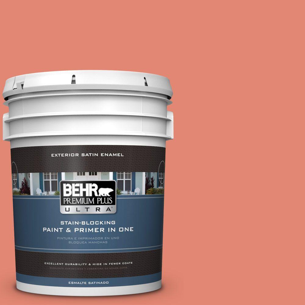 BEHR Premium Plus Ultra 5-gal. #200D-5 Guava Jam Satin Enamel Exterior Paint
