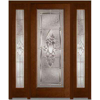 64 in. x 80 in. Heirloom Master Left-Hand Full Lite Decorative Stained Fiberglass Oak Prehung Front Door with Sidelites