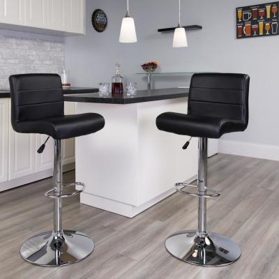 34.50 in. Adjustable Height Black Cushioned Bar Stool