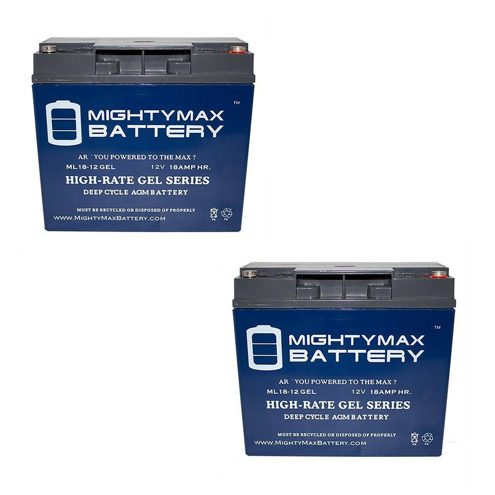 Mighty Max Battery 12 Volt 18 Ah Sla (sealed Lead Acid) Gel Agm Type Medical Mobility Replacement Battery (2 Pack)