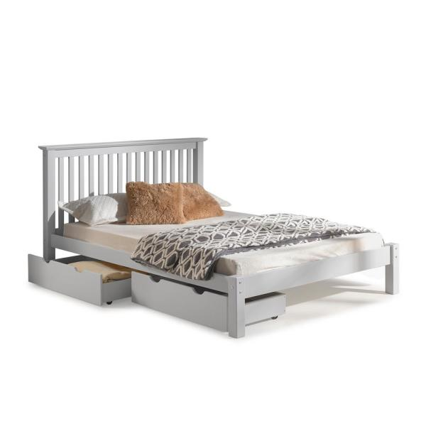 Alaterre Furniture Barcelona Dove Gray Queen Bed with Storage Drawers AJBA3080S