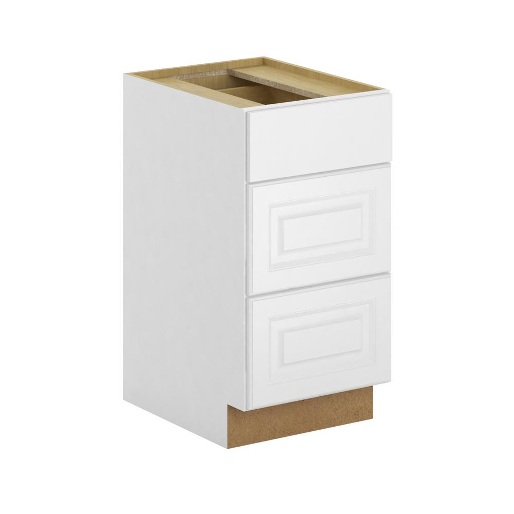 Hampton Bay Madison Assembled 18x34 5x24 In 3 Drawer Base Cabinet With Soft Close In Warm White