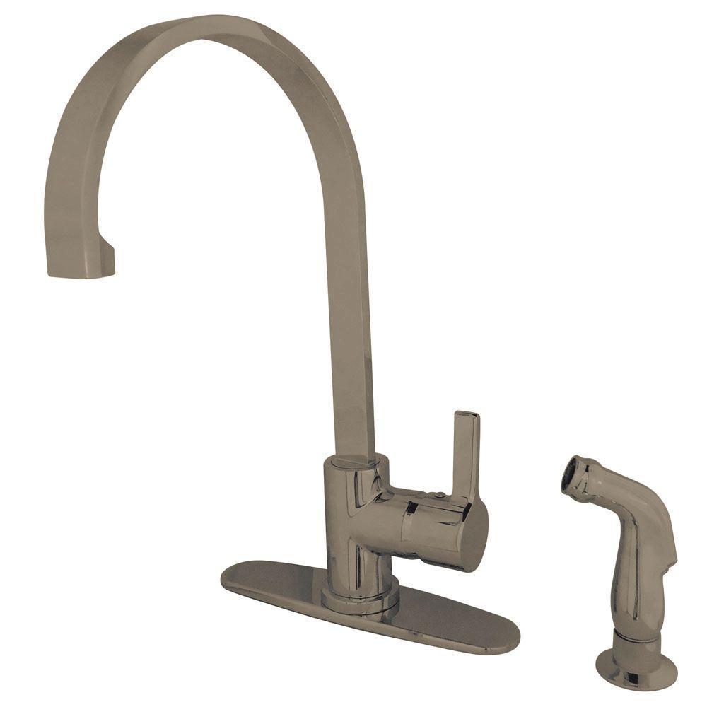 Modern Single-Handle Standard Kitchen Faucet with Side Sprayer in Satin Nickel