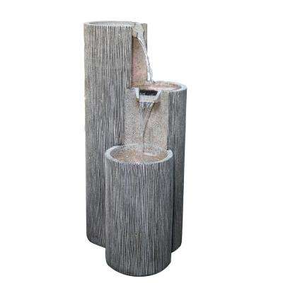 41 in. Tall Modern 3-Tiering Round Columns Fountain with LED Light