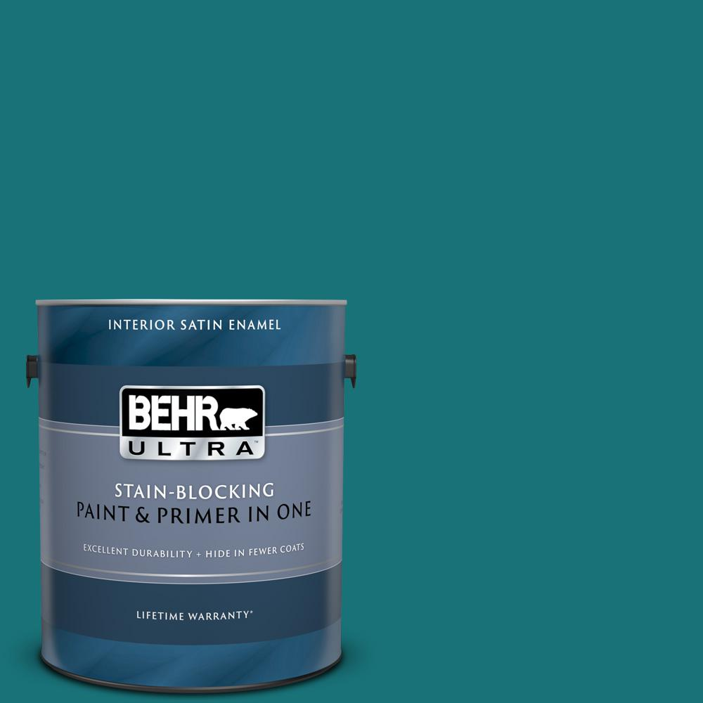 Behr Ultra 1 Gal T15 3 Essential Teal Satin Enamel Interior Paint And Primer In One 775301 The Home Depot