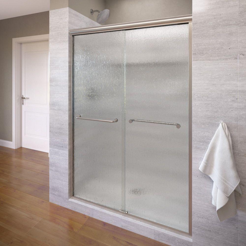 Basco Infinity 47 in. x 70 in. Semi-Frameless Sliding Shower Door in Brushed Nickel