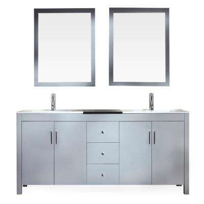 Hanson 73 in. Bath Vanity in Grey with Granite Vanity Top in Black with White Basins and Mirrors