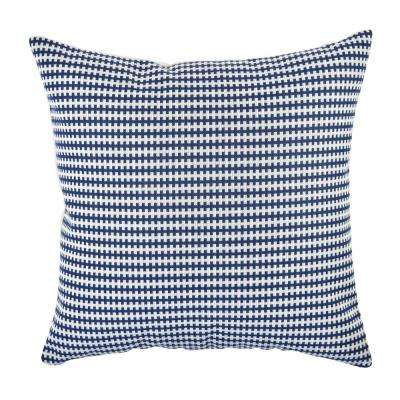 Navy Houndstooth Woven Throw Pillow