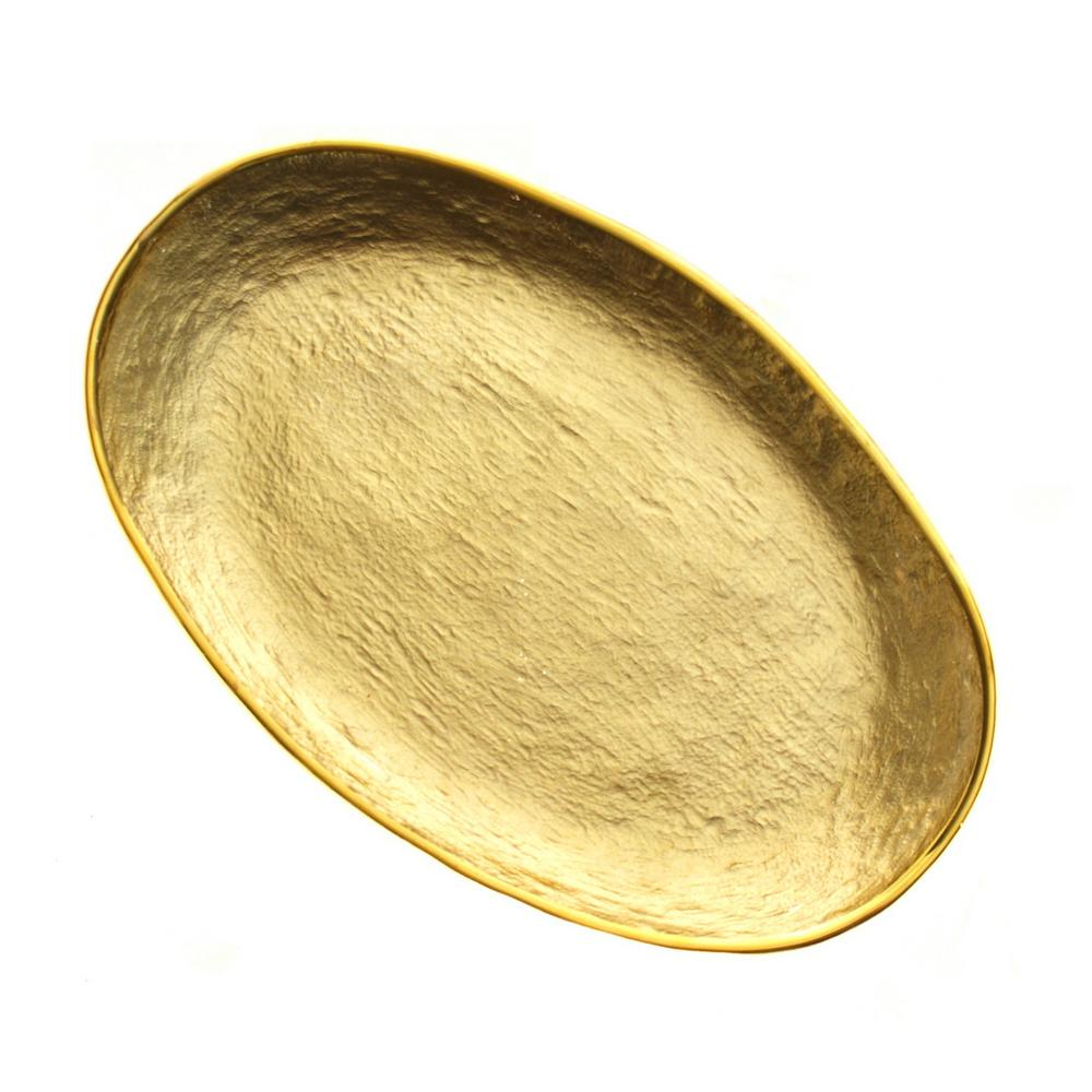 13.5 in. x 8.5 in. Glamour Gold Oval Glass Tray