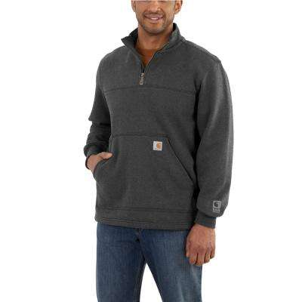 Men's Small Carbon Heather Cotton/Polyester Rain Defender Paxton Heavyweight Quarter-Zip Sweatshirt