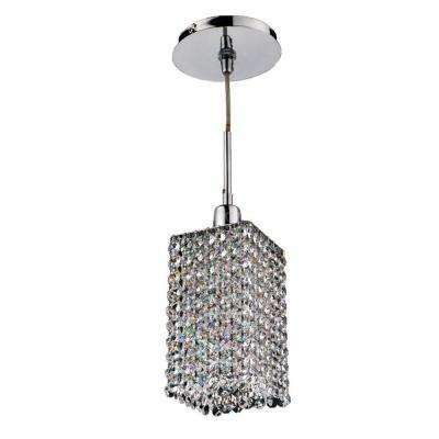 Fuzion X 1 Light Square 2 Layer Crystal And Chrome Mini Pendant