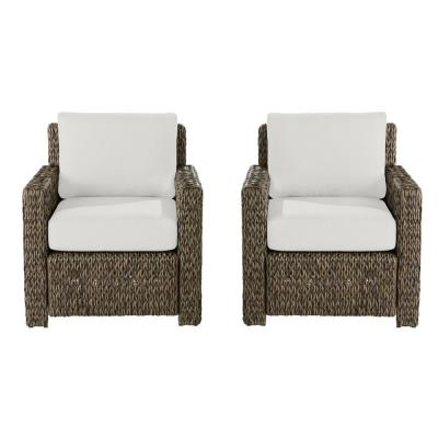 Laguna Point Brown Wicker Outdoor Patio Lounge Chair with Cushion Guard Chalk White Cushions (2-Pack)