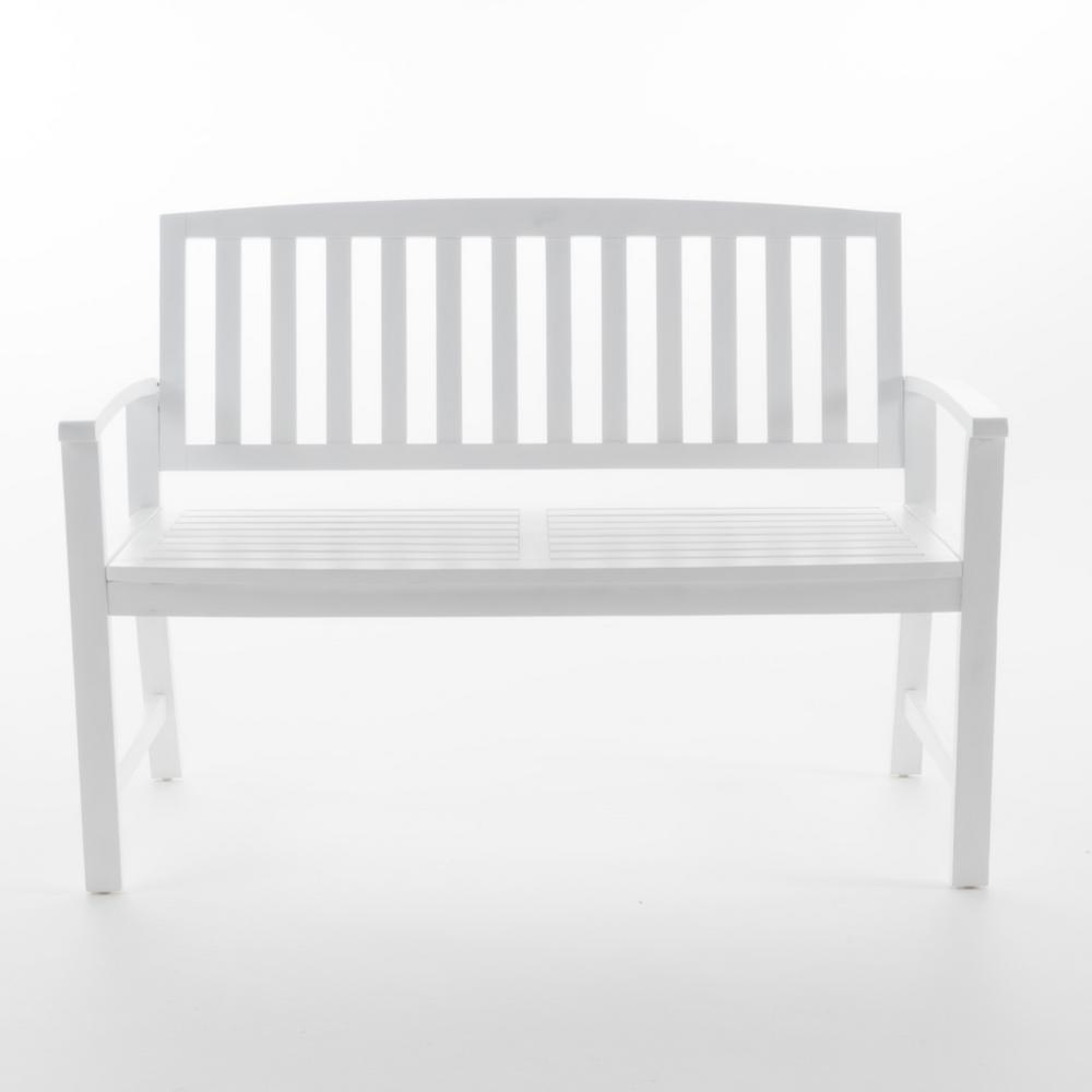 Noble House 48.25 in. White Acacia Wood Outdoor Bench