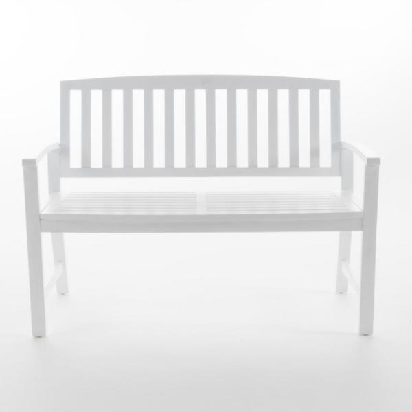 48.25 in. White Acacia Wood Outdoor Bench