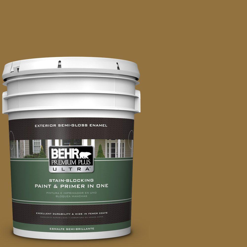 BEHR Premium Plus Ultra 5-gal. #350D-7 Cattail Brown Semi-Gloss Enamel Exterior Paint