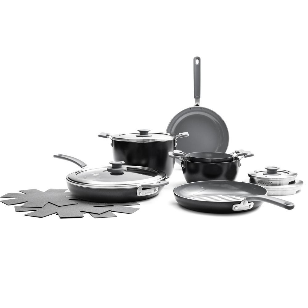 Levels Essential 13-Piece Aluminum Ceramic Nonstick Cookware Set in Gray