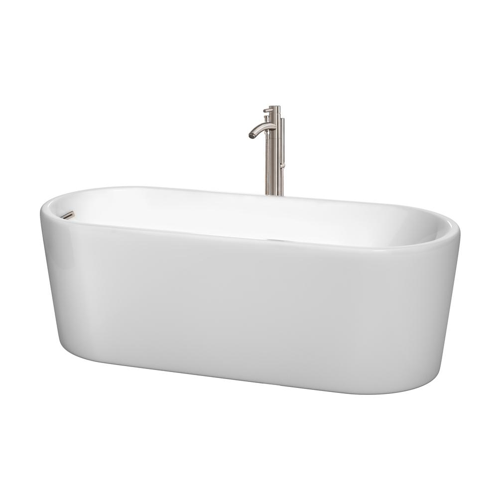 Wyndham Collection Ursula 5.6 ft. Acrylic Flatbottom Non-Whirlpool Bathtub in White with Brushed Nickel Trim and Faucet