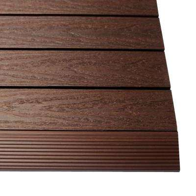 1/6 ft. x 1 ft. Quick Deck Composite Deck Tile Straight Trim in California Redwood (4-Pieces/Box)