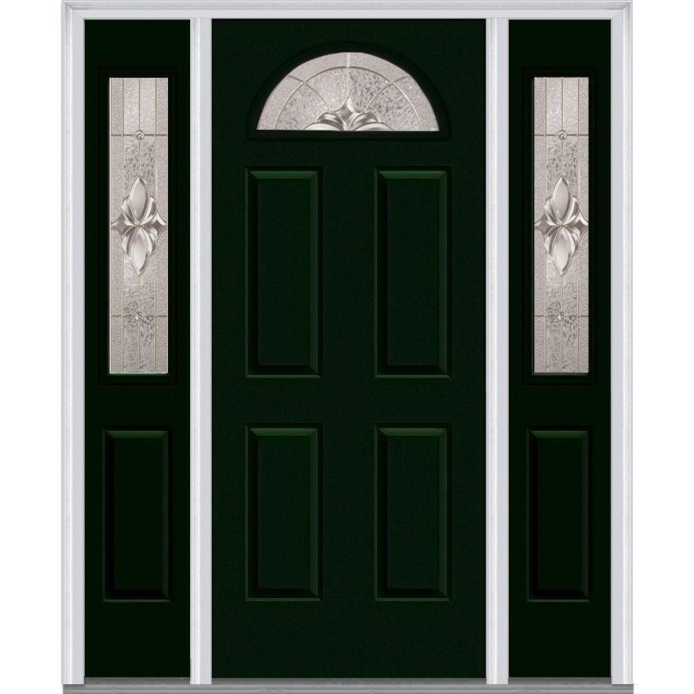 64 in. x 80 in. Heirloom Master Left-Hand Inswing 1/4-Lite Decorative Painted Steel Prehung Front Door with Sidelites