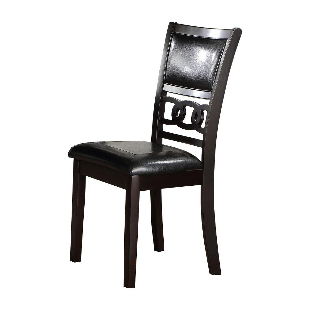 Benjara 38 57 In H Black Leatherette Dining Chair With Curved Lattice Back Set Of 2 Bm218173 The Home Depot