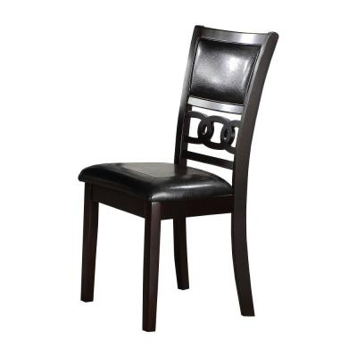38.57 in. H Black Leatherette Dining Chair with Curved Lattice Back (Set of 2)