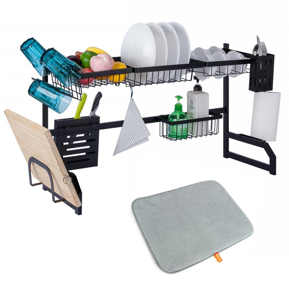 Over the Sink Dish Drying Rack,Large Stainless Steel Dish Rack, Cutting Board Holder Kitchen Sink Shelf Storage Rack