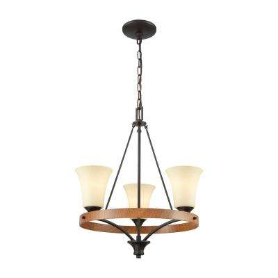 Park City 3-Light Oil Rubbed Bronze and Wood Grain Chandelier With Light Beige Scavo Glass Shades