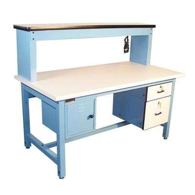 60 in. x 30 in. Technical Work Bench with Plastic Laminate Surface and Light Blue Frame, Bench in a Box