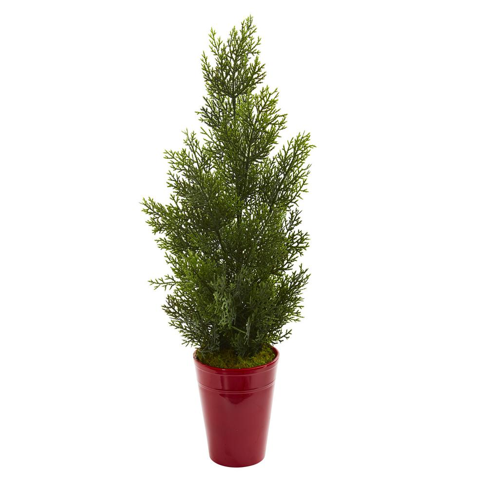 Nearly Natural 27 in. Indoor/Outdoor Mini Cedar Artificial Pine Tree in Decorative Planter Standing gracefully in an included decorative planter, this artificial 27 in. mini cedar pine tree, with an abundant amount of green pine needles, will brighten any dull corners or wasted spaces in your home. Flaunting its realistic appearance, this ornament will bring the warmth of the sun and the feel of the forest indoors. Place it near a woven-wicker chair or basket for a touch of coastal appeal.