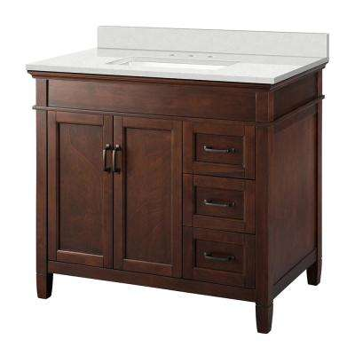 Ashburn 37 in. W x 22 in. D Vanity Cabinet in Mahogany with Engineered Marble Vanity Top in Snowstorm with White Basin